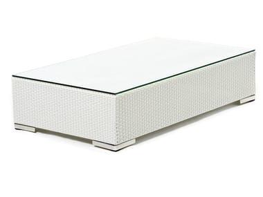 Tavolino rettangolare in fibra sintetica e piano in vetro CORA | Tavolino rettangolare