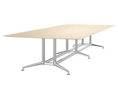 Rectangular aluminium and wood meeting table FINA CONFERENCE | Aluminium and wood meeting table