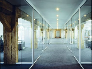 Sliding glass office partition H130