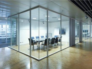 Sliding glass office partition H68