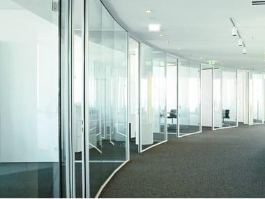Sliding glass office partition H40