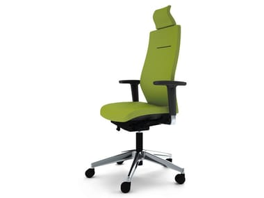 Executive chair with 5-spoke base with armrests with headrest JET II | Executive chair with headrest
