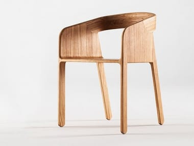 Wooden chair with armrests MALENA | Chair
