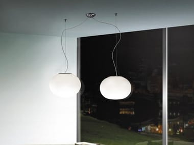 Blown glass pendant lamp LUCCIOLA SP D2