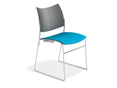 Stapelbarer Konferenzstuhl mit Kufengestell CURVY | Stuhl mit Kufengestell