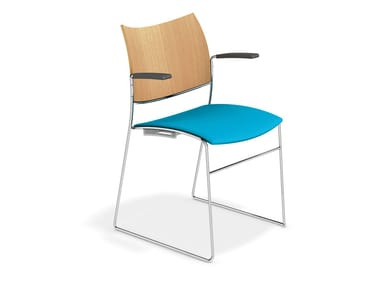 Konferenzstuhl mit Kufengestell mit Armlehnen CURVY | Stuhl mit Armlehnen