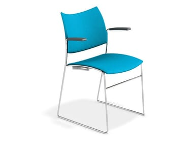 Sled base chair with armrests CURVY | Chair with armrests