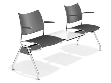 Plastic beam seating with armrests CURVY TRAVERSE | Beam seating