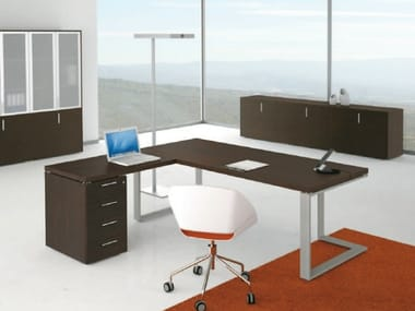 L-shaped wooden office desk with drawers ARCHIMEDE   L-shaped office desk