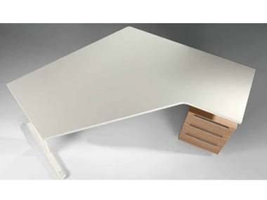 L-shaped wooden office desk with drawers MEDLEY | L-shaped office desk