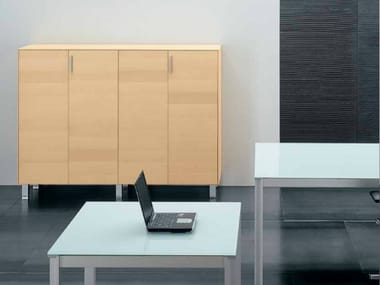 Wooden office storage unit with hinged doors ZEFIRO EXE | Office storage unit with hinged doors