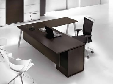 L-shaped wooden office desk with drawers ATREO   Office desk