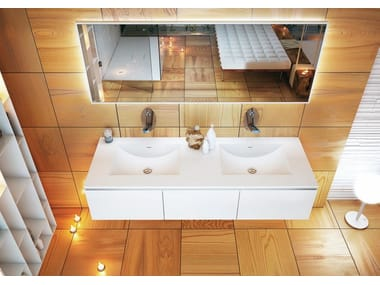 Inset double Corian® washbasin CONCAVO DUE
