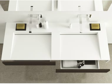 Double wall-mounted Corian® washbasin with drawers SLIM WOOD