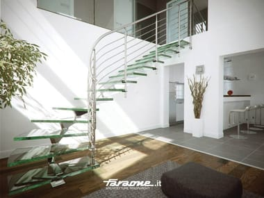 Glass and aluminium Spiral staircase MISTRAL