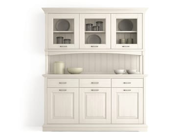 Wooden highboard with doors with drawers ARIETTE | Highboard with doors