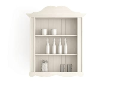 Open wooden wall cabinet with shelves MAESTRALE | Wall cabinet