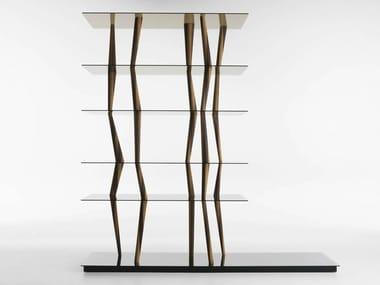 Libreria a giorno bifacciale in legno e vetro SENDAI CRYSTAL
