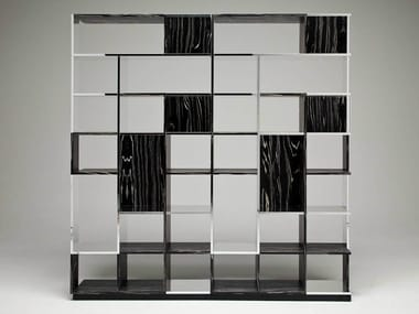 Aluminium and wood bookcase SUDOKU NEROBIANCO