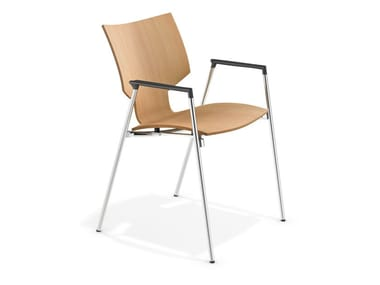 Wooden chair with armrests LYNX I | Chair with armrests