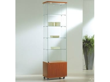 Retail display case with integrated lighting with castors VE60220FM | Retail display case