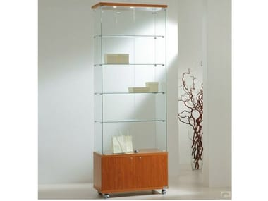 Retail display case with integrated lighting with castors VE80220FM | Retail display case
