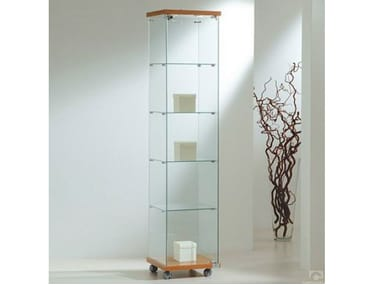 Retail display case with integrated lighting with castors VE40180F | Retail display case