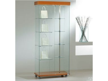 Retail display case with integrated lighting with rotating shelves with castors VE80180G | Retail display case