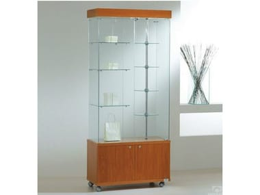 Retail display case with integrated lighting with rotating shelves with castors VE80180MG | Retail display case