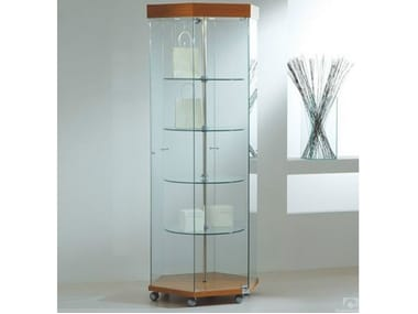 Retail display case with integrated lighting with rotating shelves with castors VE80180GE | Retail display case