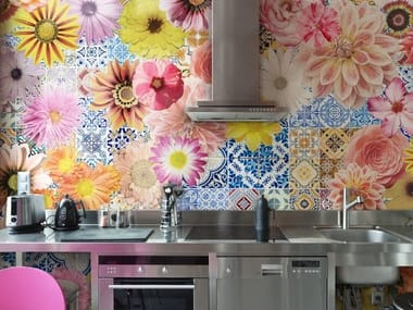 Vinyl wallpaper with floral pattern TECHNICOLOR