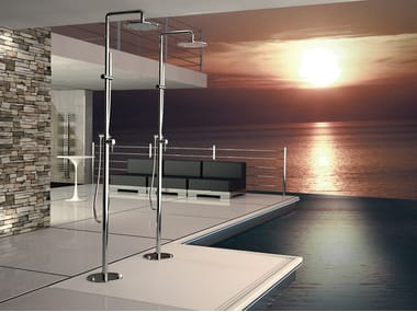 Floor standing chromed brass shower panel with diverter with overhead shower MINIMAL | Floor standing shower panel