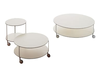 Round coffee table with castors GIRÒ