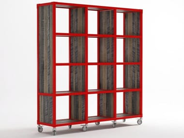 Freestanding Wooden Bookcase With Casters Ak 14