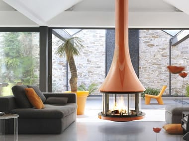Hanging fireplace with panoramic glass ZELIA 908