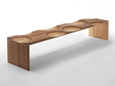 Solid wood bench RIPPLES | Bench