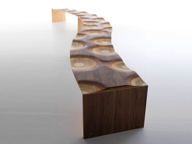 Modular solid wood bench RIPPLES LIKE A RIVER