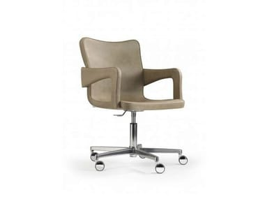 Contemporary style chair with 4-spoke base with armrests with casters PATCH