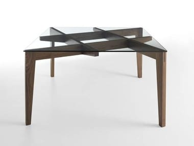 Square wood and glass table AUTOREGGENTE | Square table