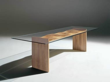 Rectangular wood and glass table RIPPLES | Table