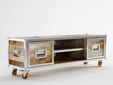 Low wooden TV cabinet with castors ROADIE | TV cabinet with castors