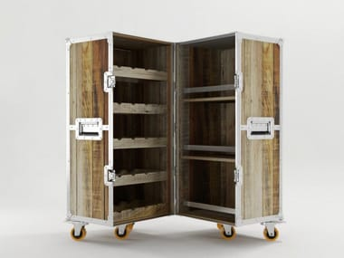 Wooden bar cabinet with casters ROADIE | Bar cabinet
