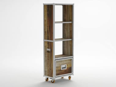 Freestanding Wooden Bookcase With Drawers Casters Roa