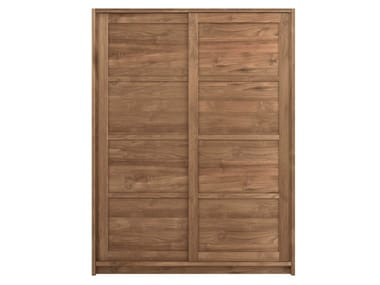 Teak wardrobe with sliding doors TEAK KNOCKDOWN | Wardrobe with sliding doors