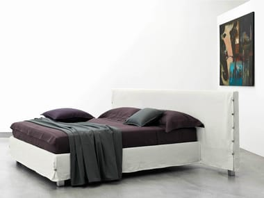 Double bed with upholstered headboard WHITE LARGE