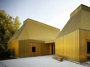 Metal sheet and panel for facade TECU® Brass
