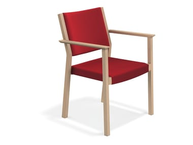 Upholstered chair with armrests WOODY | Chair with armrests
