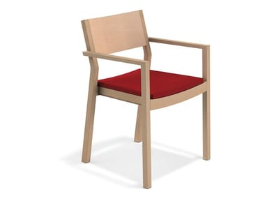 Wooden chair with armrests WOODY | Chair with armrests