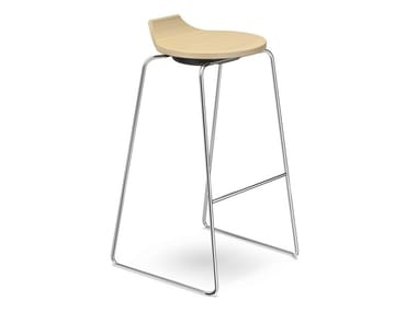 High wooden stool RAVELLE I | High stool
