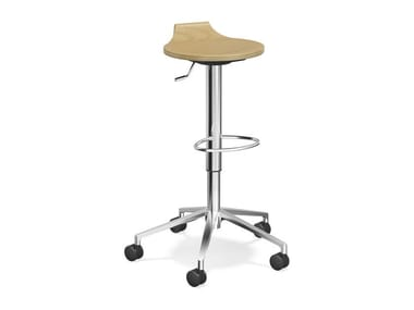 Wooden stool with castors RAVELLE V | Wooden stool